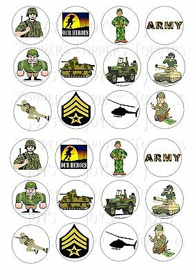 £2 • Buy 24 Army Forces Cupcake Topper Wafer Rice Edible Fairy Cake Bun Toppers