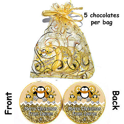 1 X Bag Of 5 Personalised Golden PENGUIN Milk CHOCOLATE COINS CHRISTMAS Gift • 1.99£
