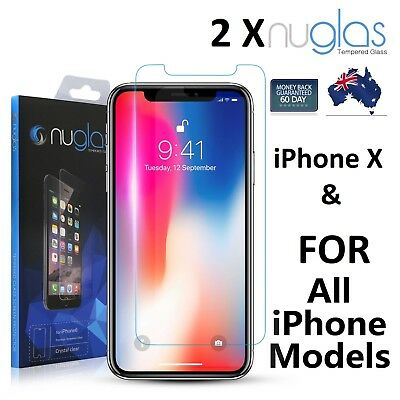 AU8.38 • Buy 2X NUGLAS Tempered Glass Screen Protector- IPhone 11 PRO XS Max XR  8 7 6S Plus