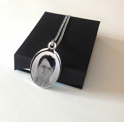 Personalised Photo/Text Engraved Oval Necklace Pendant Gift And Luxury Gift Box • 12.95£