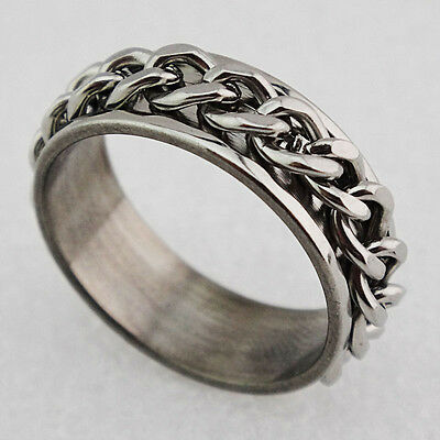 Stainless Steel Womens Mens Spin Rollling Chain Worry Ring Size: T, W, O, U, M, • 4.99£