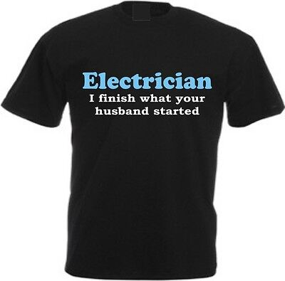 £9.99 • Buy ELECTRICIAN FINISH HUSBAND STARTS T-shirt Sparky Gift Birthday Christmas Funny