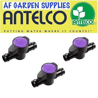3 X Purple Back Inline Valve/tap For 13mm Irrigation Pipe Garden Watering  • 7.45£