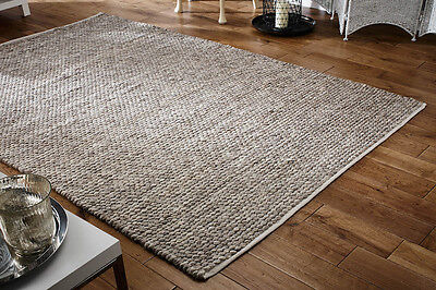 Chunky Natural Taupe Brown Modern Handwoven Bubbly Pebble Affect Wool Durrie Rug • 299.99£