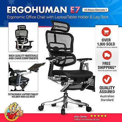 AU1397 • Buy Ergohuman Mesh Chairs E7 Deluxe Ergonomic Office Computer Chair With Headrest