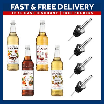 Monin Coffee Syrups Full Case - 4 X 1 Litre Bottles - AS USED BY COSTA COFFEE! • 37.23£