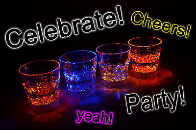 Aquaglow LED Light Up Illuminated Glasses Tumblers Liquid Activated Party Must • 12.99£
