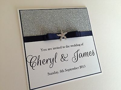 £3.25 • Buy Personalised Glitter Beach Wedding Invitations - Any Colour