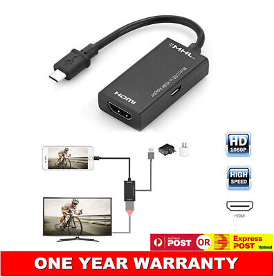 AU12.12 • Buy Micro USB MHL To HDTV HDMI AV Adapter For Samsung Galaxy Note2 Note3 Note4 N7100