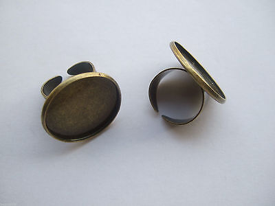 £2.99 • Buy 5 X Antique Bronze 25mm Round Adjustable Ring Blank Base Cabochon Setting