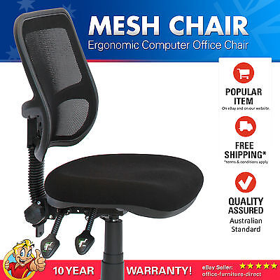 AU257 • Buy Office Chair Adjustable Mesh Fully Ergonomic Computer Desk Typist Gas Lift Black