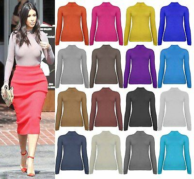 Womens Ribbed Polo Neck Top Ladies Plain Turtle Roll Neck Full Sleeve Jumper Top • 8.99£