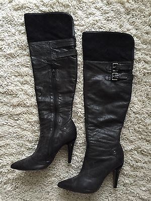 $50 • Buy Sexy OTK Over The Knee Leather Boots High Heel Decorative Buckles Pointy Toe 6