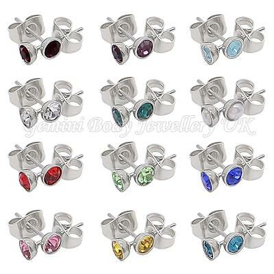 Birthstone 4 Mm CZ & Surgical Steel Stud Earrings Fits Standard Ear Piercing • 2.25£