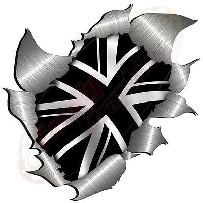 Large Metal Rip Torn Open Black Union Flag Sticker Car Land Rover 4X4 Truck • 4.49£