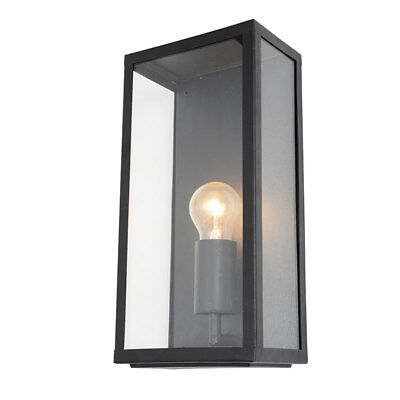 Litecraft Outdoor IP44 Wall Lantern Steel Box External Garden Porch Light Black • 29£