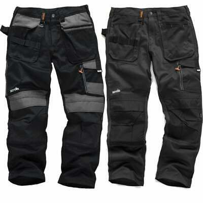 SCRUFFS Work Trousers 3D TRADE Hard-Wearing CORDURA FABRIC Knee Pad Pockets • 34.95£