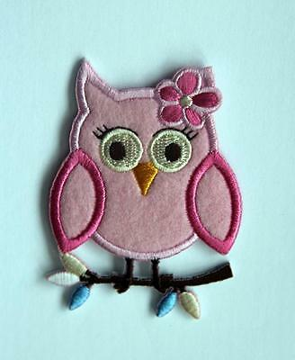 Pink Baby Owl Embroidered Embroidery Iron / Sew On Patch Badge Applique Motif • 3.99£