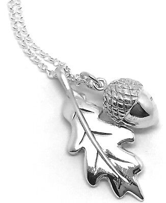 £66.99 • Buy Oak Leaf Acorn Necklace, Solid Sterling Silver, Long 30  Chain, Gift Box. New.