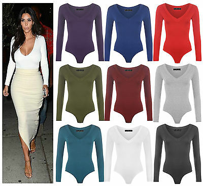 New Womens Long Sleeve Plunge V Neck Bodysuit Ladies Stretchy Plain Leotard Top  • 5.99£