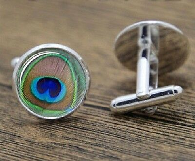 Peacock Feather Bird Birds Novelty Cufflinks Mens Womens Unisex Gift Retro Fun • 4.99£