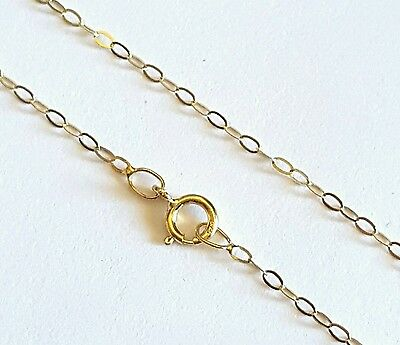 AU55 • Buy 100% GENUINE 9ct 9k 375 Yellow Gold 16 /40cm Flat Cable Trace Chain Necklace