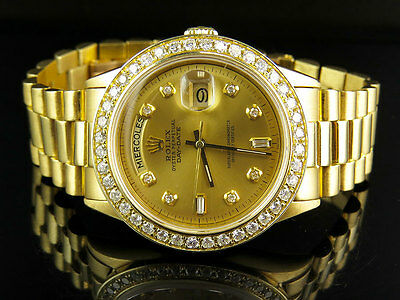 $ CDN17544.79 • Buy 18K Mens Yellow Gold Rolex Presidential Day-Date 36MM Diamond Watch 3.5 CT