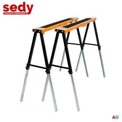 AU74.50 • Buy 2x Heavy Duty Metal Saw Horse Foldable Steel Trestle Stand Carpentry Work Bench