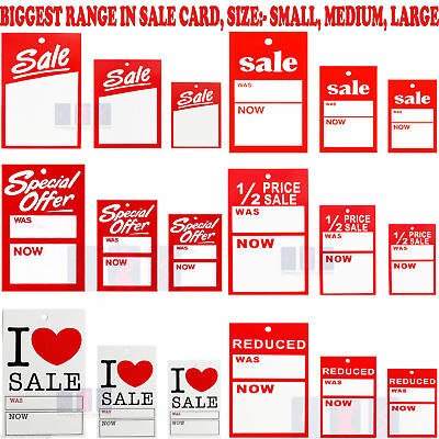 Sale Cards Special Offer Reduced Was Now Card Pricing Gun Hanger Swing Tickets • 2.10£