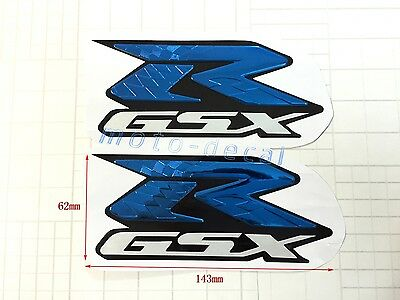 $16.13 • Buy Raised 3D Chrome Emblem Decals For GSXR 1000 750 600 Fairing Blue Sticker Bling