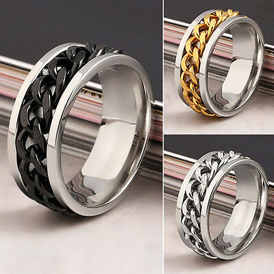 Stainless Steel Womens/Mens Spin/Rollling Chain Worry Ring Size: N P S K U Y V • 5.99£
