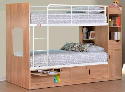 Platinum Wooden Bunk Bed With Storage - White Beech Or Oak - New Kids Bunks • 449£