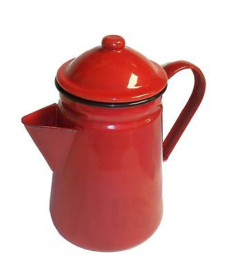 $23.99 • Buy Falcon Red Enamel Tall Coffee Pot With Handle & Lid Tea Camping Teapot