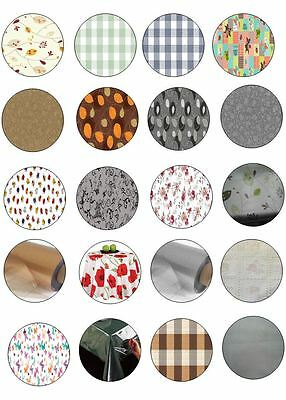 Round All Occasions Table Cloth Protectors Oil Vinyl Plastic Cloth Printed Plain • 8.65£