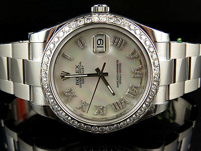 $ CDN16000.78 • Buy Mens 41 MM 116300 Rolex Datejust II 2 White Mother Of Pearl Roman Diamond Watch