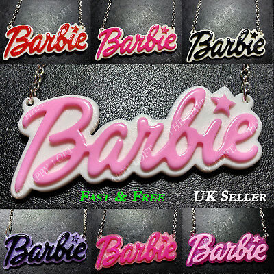 Funky BARBIE NECKLACE Statement Large Name Kawaii Rockabilly Cute Kitsch Emo • 3.69£