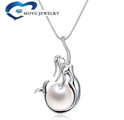$13.98 • Buy 925 Sterling Silver Freshwater Pearl Mermaid Pendant 18  Chain Necklace Gift Box