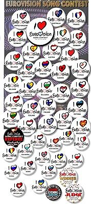 £2.99 • Buy Eurovision Song Contest Party Badges/great Eurovision Sweepstake 2~ 55 Mm/ 2.2