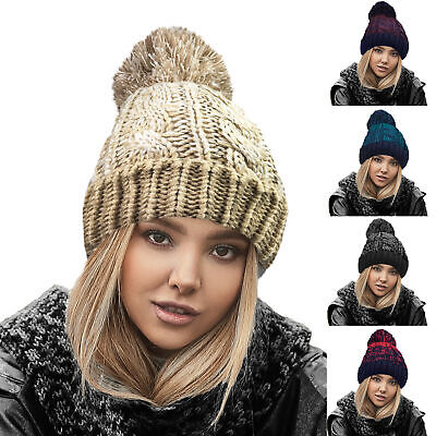 £5.99 • Buy Ladies Mens Soft Chunky Cable Knit Winter Warm Slouch Beanie Bobble Pom Pom Hat
