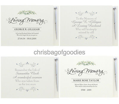 £21.99 • Buy PERSONALISED GUEST BOOK For Of FUNERAL Condolence In Loving Memory Bereavement