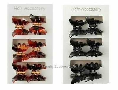£2.23 • Buy 6 Mini Butterfly Hair Clips Clamps Claws Grips In Black Or Tortoiseshell