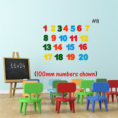 NUMBERS Wall Sticker Learning Girls Boys Bedroom Nursery  50mm * 100mm Vinyl Art • 5.99£