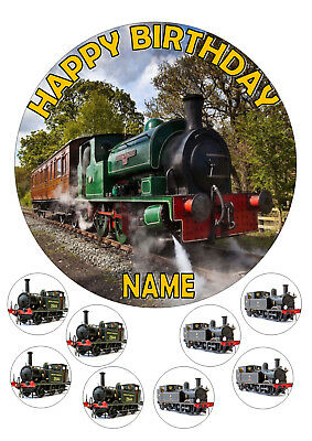 Steam Train Cake Topper Round Edible Icing Frosting 7.5 + 8 Cupcake Toppers • 3.80£