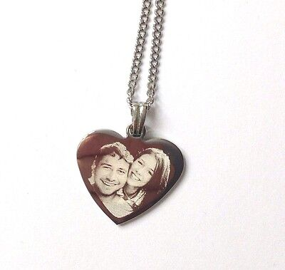 Personalised Photo/Text Engraved Heart Necklace Pendant Gift And Luxury Gift Box • 12.95£