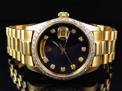 $ CDN20677.79 • Buy 18k Yellow Gold Mens 36 MM Rolex President Day-Date 18038 Diamond Bezel Watch