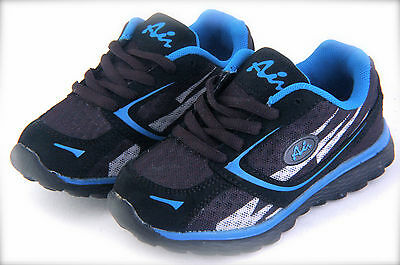 £14.54 • Buy Boy's Sport Tennis Shoes Easy To Wear Black & Blue Light Weigh