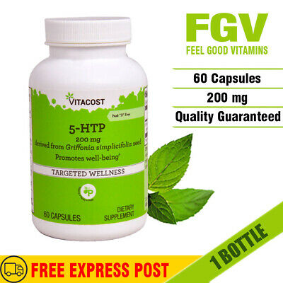 AU43 • Buy Vitacost 5HTP 200mg Double Strength 60 Capsules * MOOD * SLEEP * STRESS SUPPORT