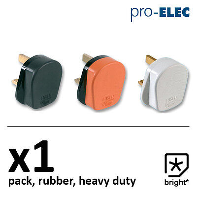 1 X 13 Amp Pro Elec Rubber Plug 13A Heavy Duty Mains Electrical 3pin  • 3.27£