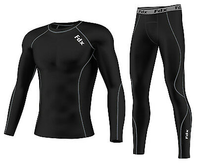 AU26.99 • Buy FDX Mens Compression Armour Base Layer Top Skin Fit Shirt + Leggings,Pants Set