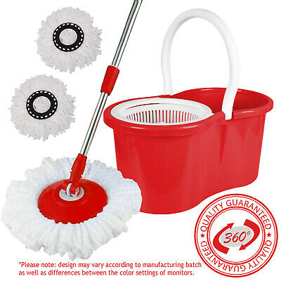 £11.45 • Buy 360 Degree Spinning Mop Bucket Home Cleaner Cleaning With 2 Microfiber Mop Heads
